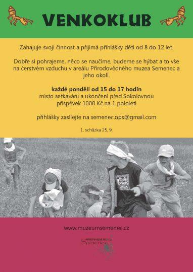 Semenec o.p.s. - pozvání na vycházku 23.9.2017 Za mravenci a do VENKOKLUBU