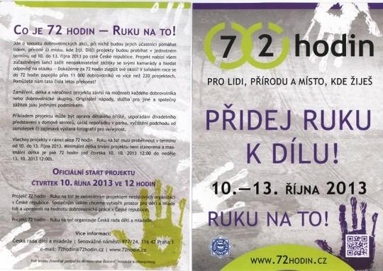 10. - 13.10.2013 Zapojte se do projektu 72 hodin v Jihočeském kraji se školami a sdruženími dětí a mládeže