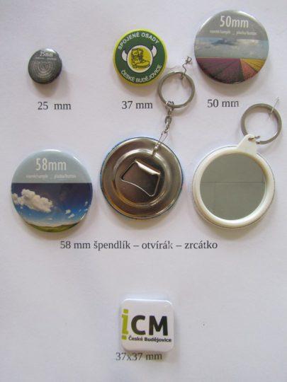 Výroba buttonů - placek, odznaků, magnetů, klíčenek - 25, 37, 50, 58 mm
