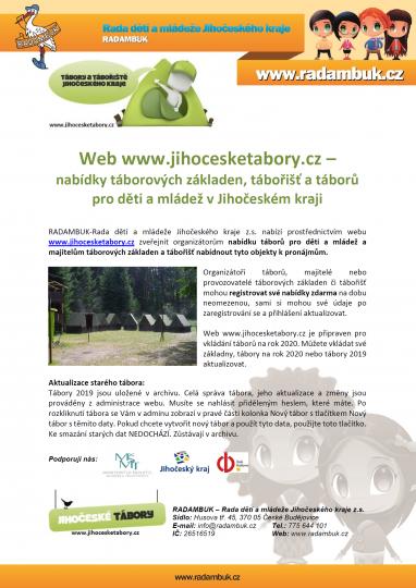 Web www.jihocesketabory.cz  je připraven pro vkládání táborů na rok 2020