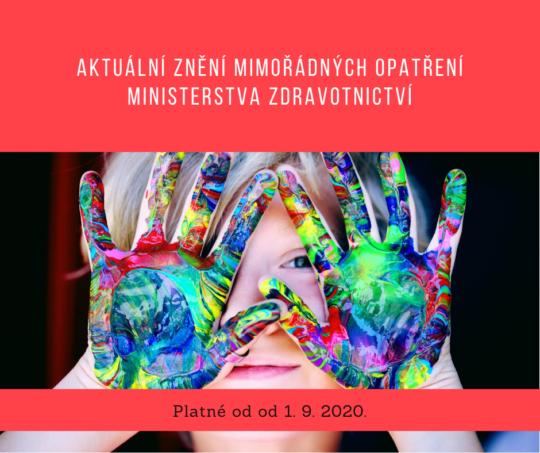 Opatření ministerstva zdravotnictví platná od 1. 9. 2020,která se týkají mimo jiné i pořádání sportovních, kulturních a spolkových akcí