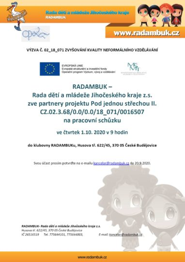 1.10.2020 - schůzka partnerů projektu Pod jednou střechou II